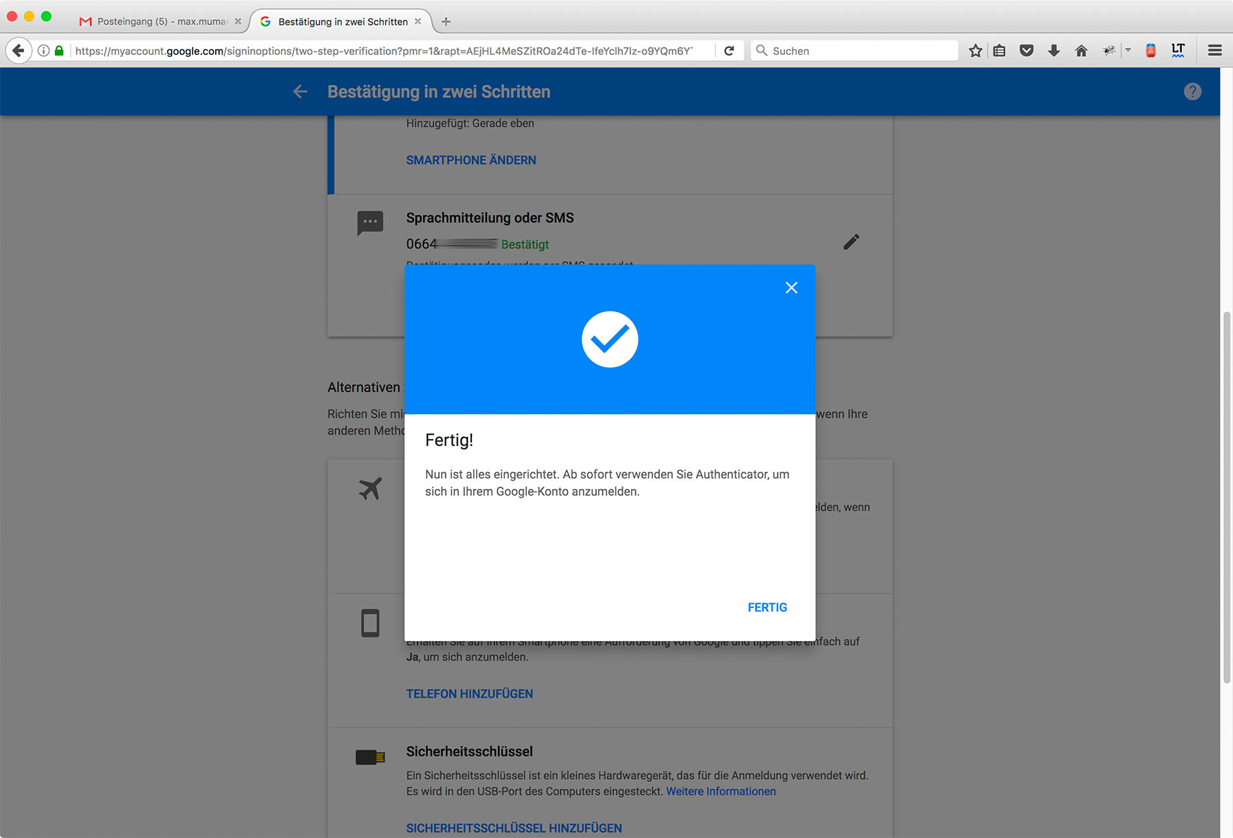 Google Two-Factor-Authentication Step 9