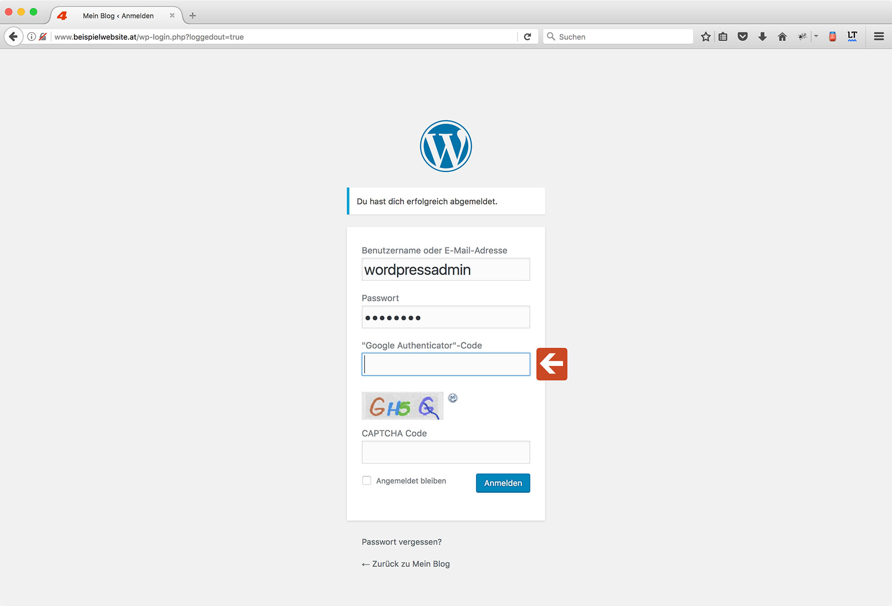 Wordpress Two-Factor Authentication Step 7