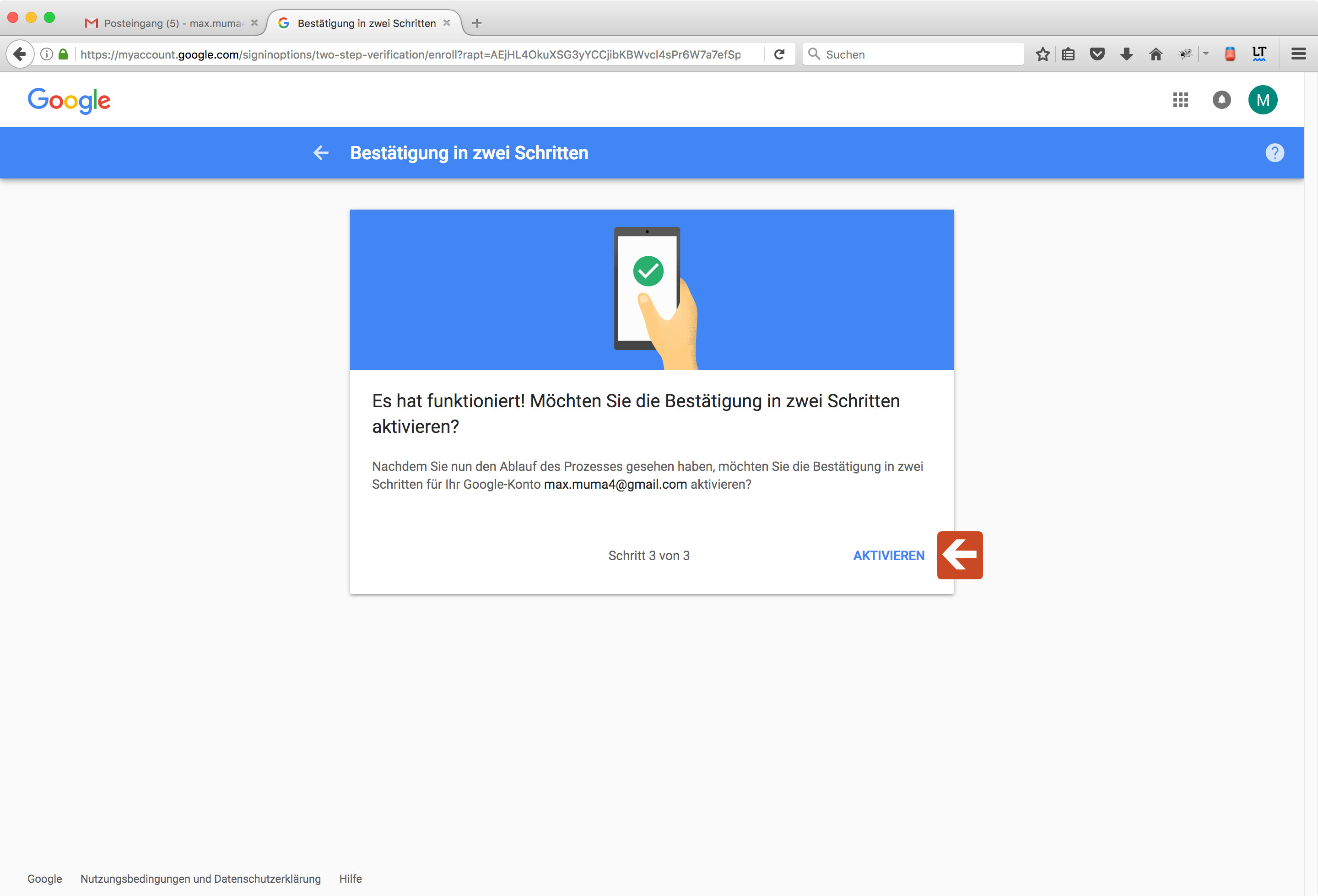 Google Two-Factor-Authentication Step 8