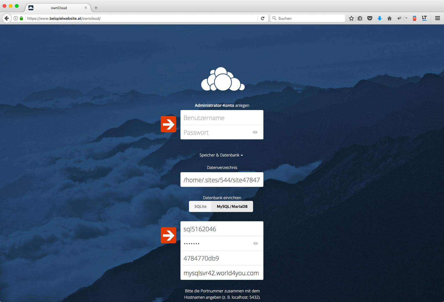 Install Owncloud on Web Hosting Package Step 6