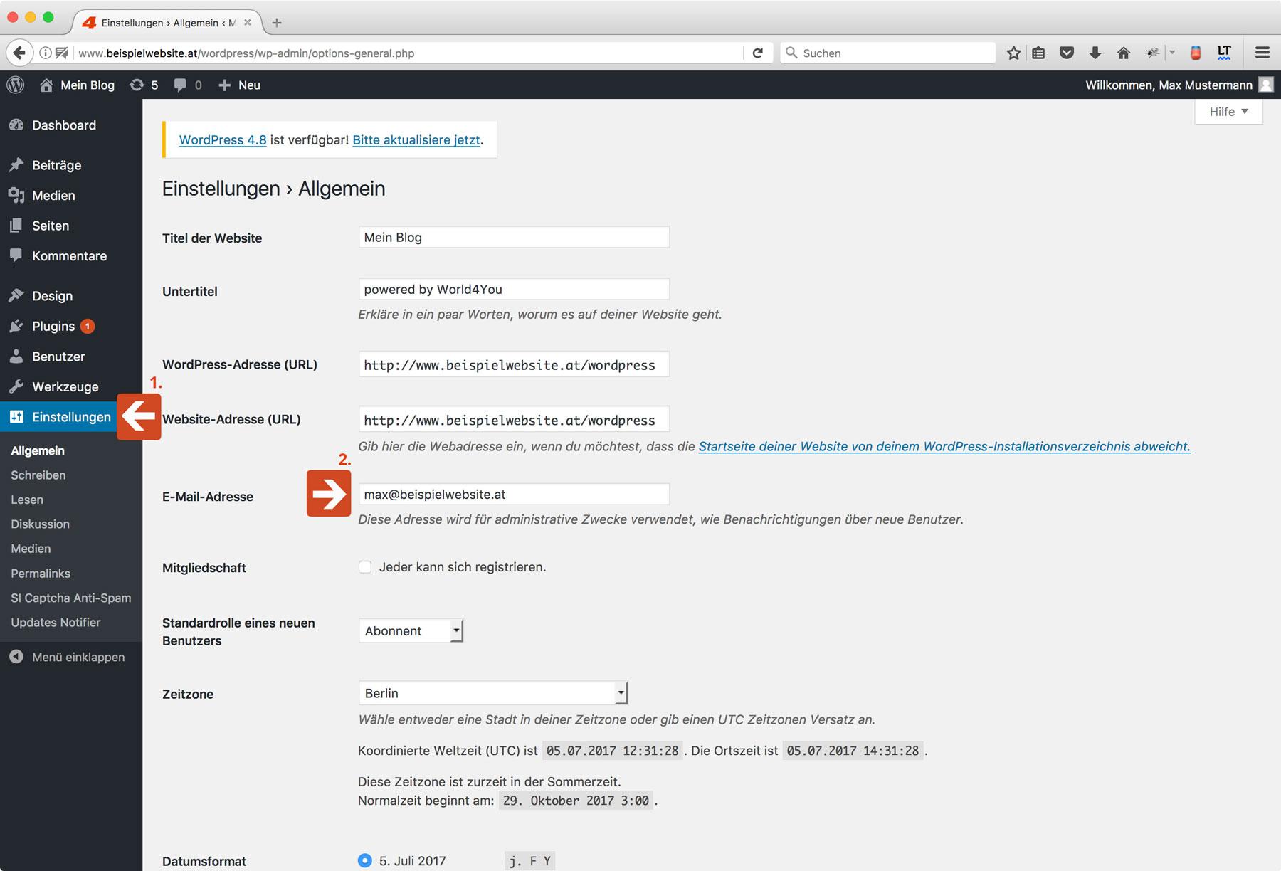 Wie ändere Ich Die E Mail Adresse In Wordpress