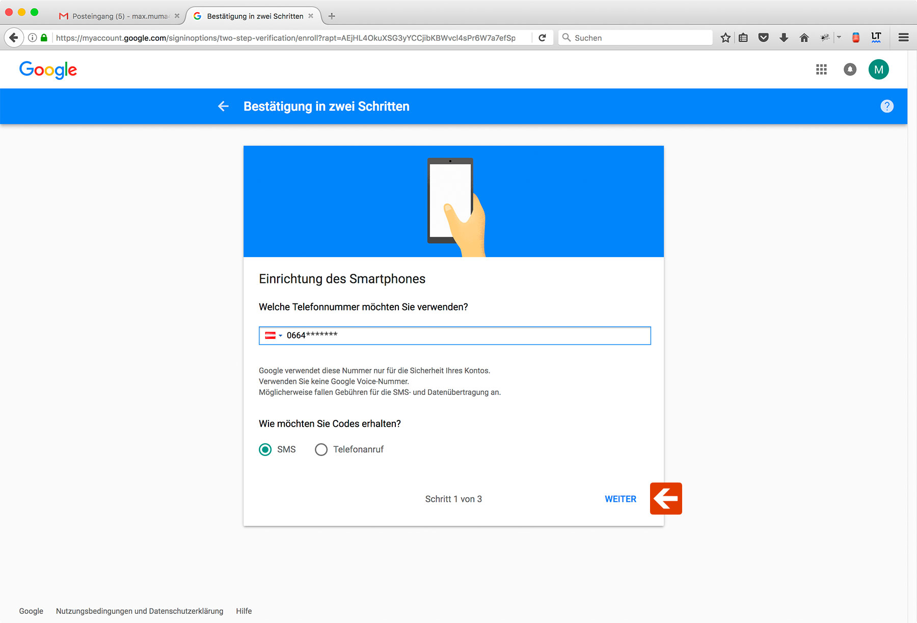 Google Two-Factor-Authentication Step 6