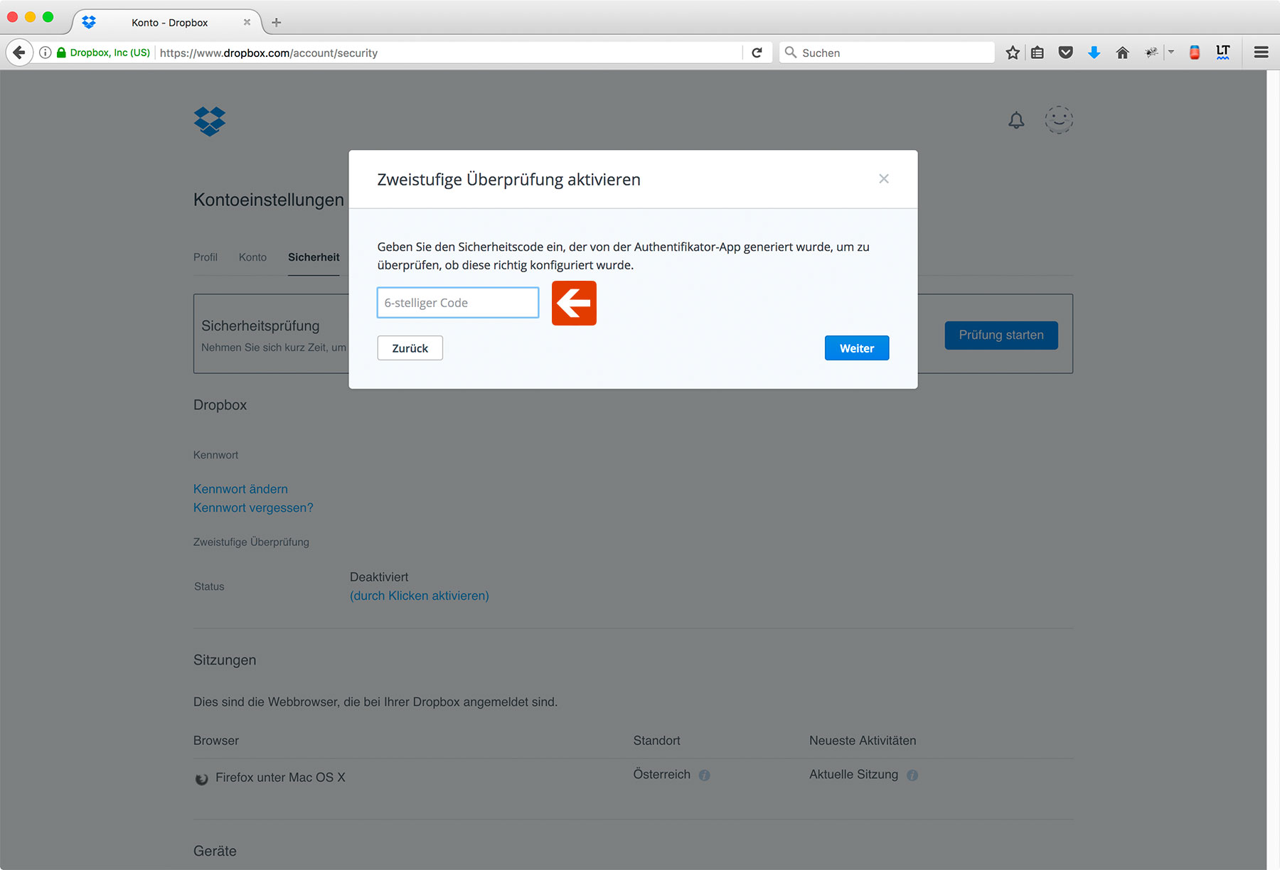 Dropbox Two-Factor Authentication Step 6