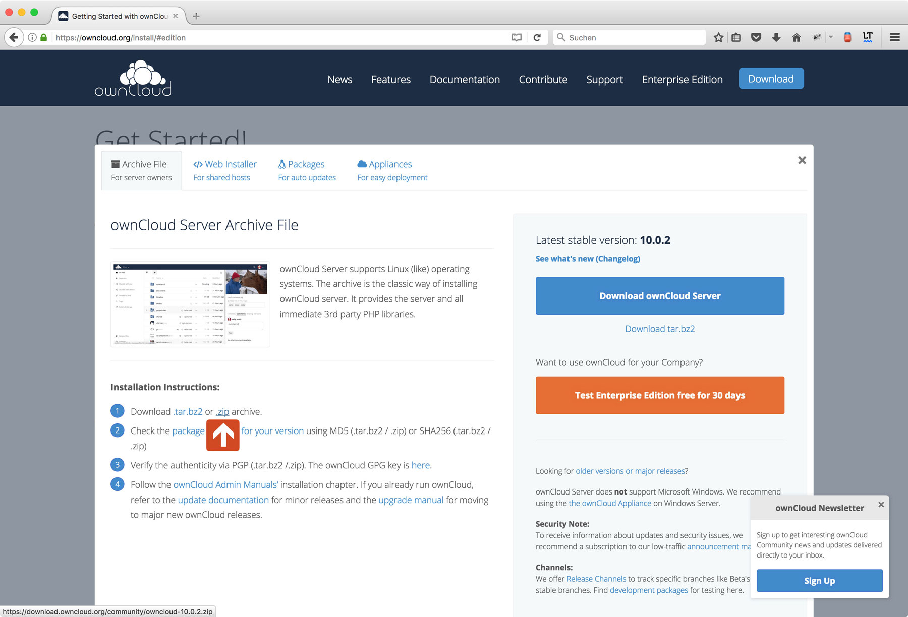 Install Owncloud on Web Hosting Package Step 3