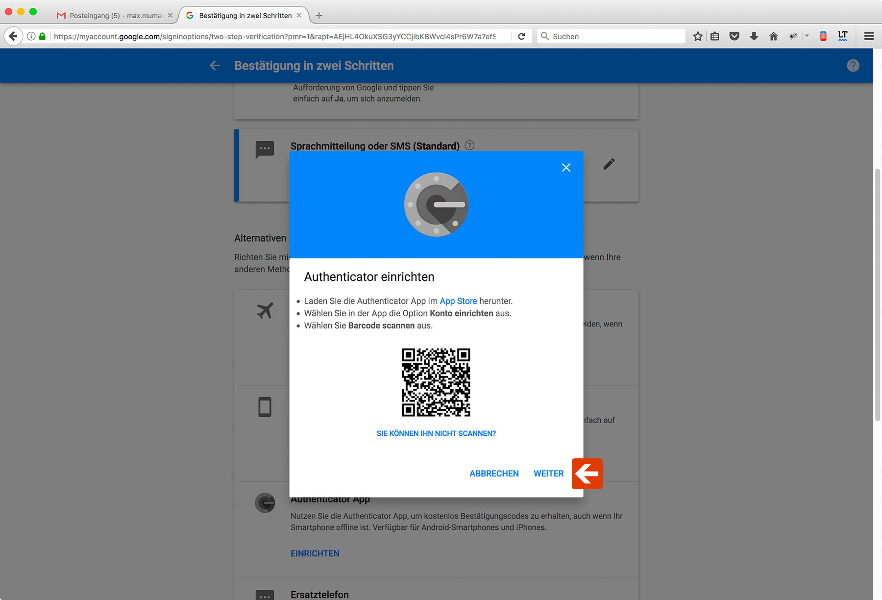 Google Two-Factor-Authentication Step 11