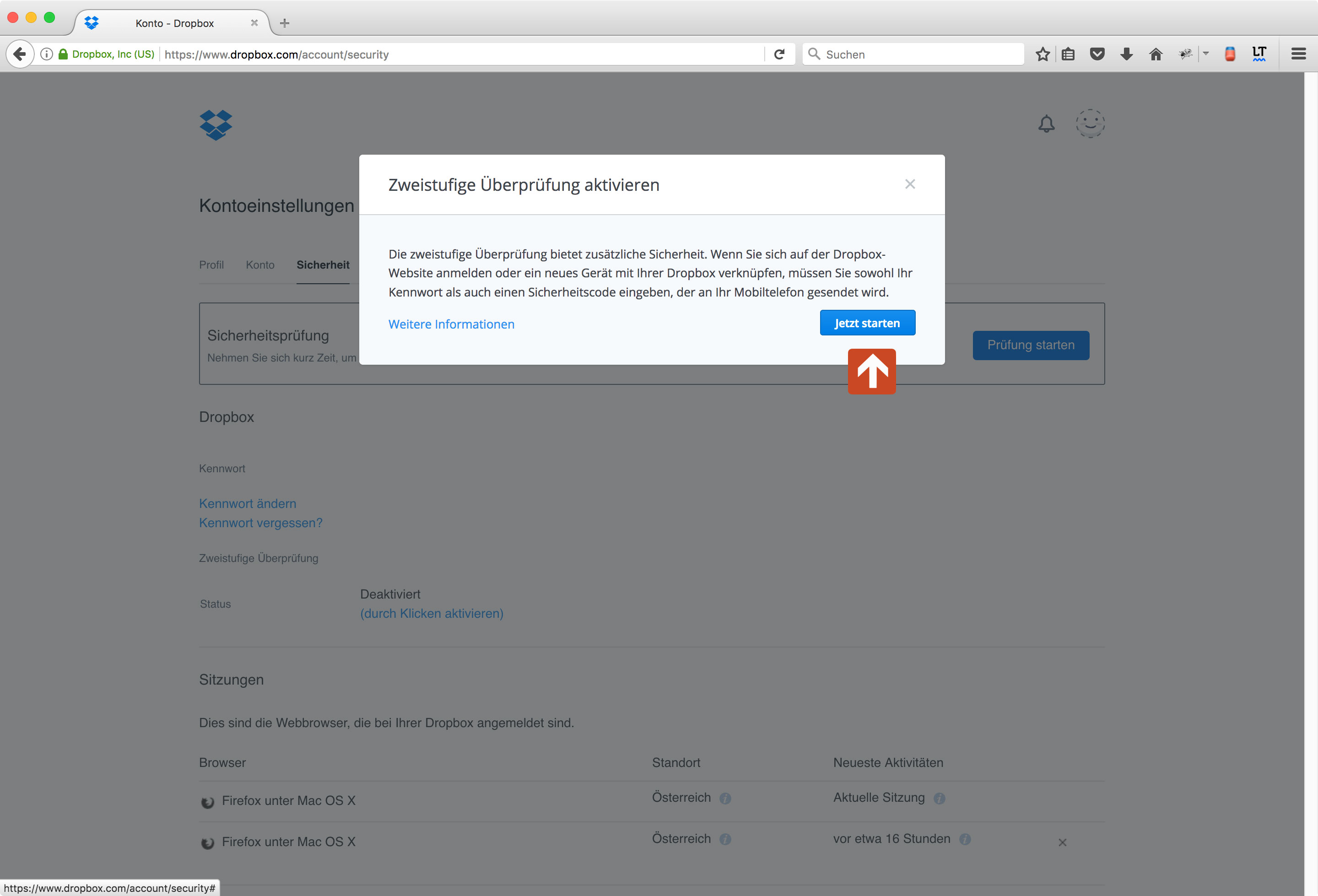 Dropbox Two-Factor Authentication Step 2