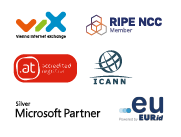 VIX (Vienna Internet Exchange) Member, RIPE NCC Member, ICANN certified & verified, Official .EU Domain Registrar, Official .AT Domain Registrar