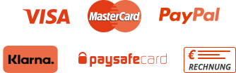 Secure payment with VISA, MasterCard, PayPal, Sofortüberweisung and paysafecard