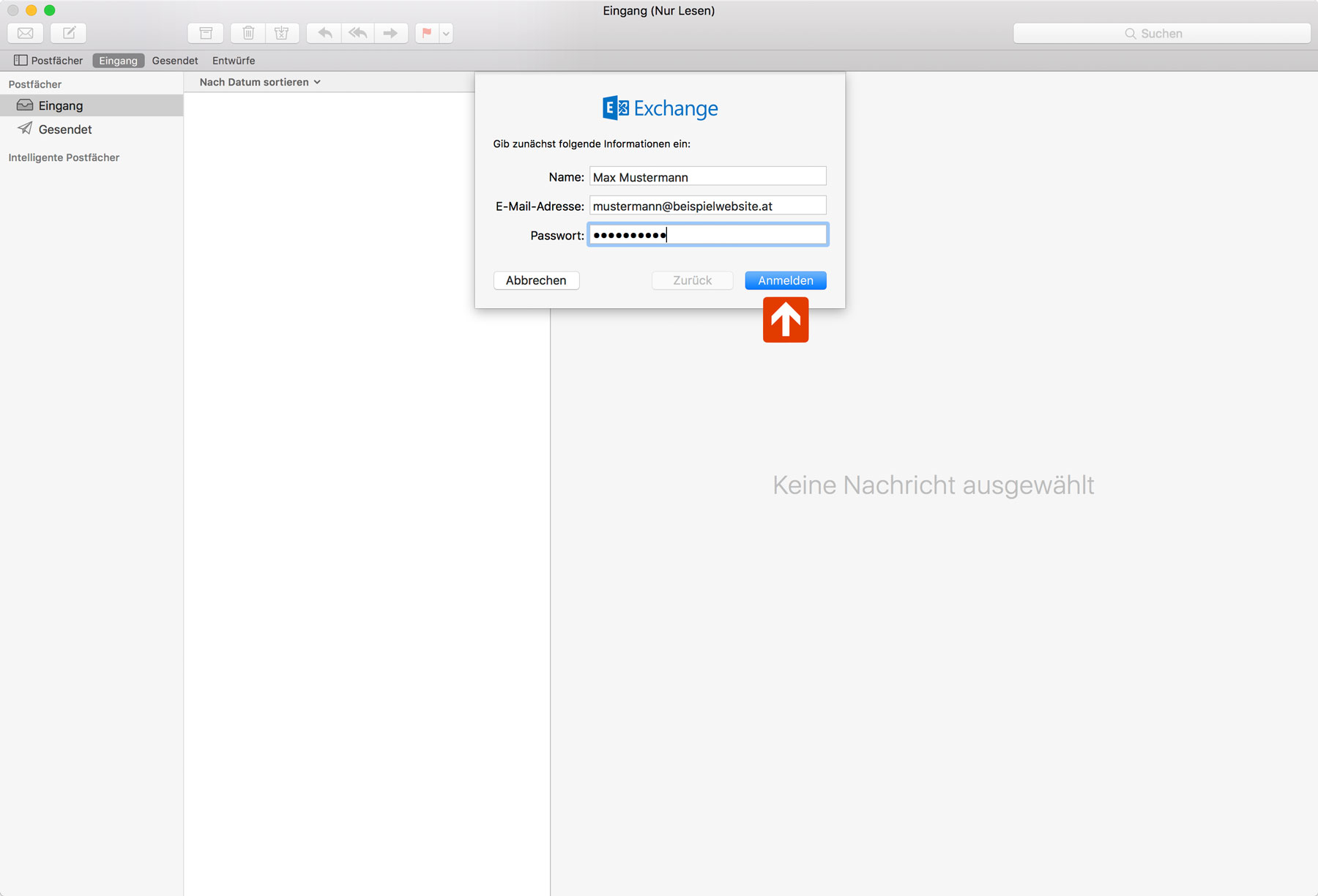 Exchange Apple Mail Setup Step 2