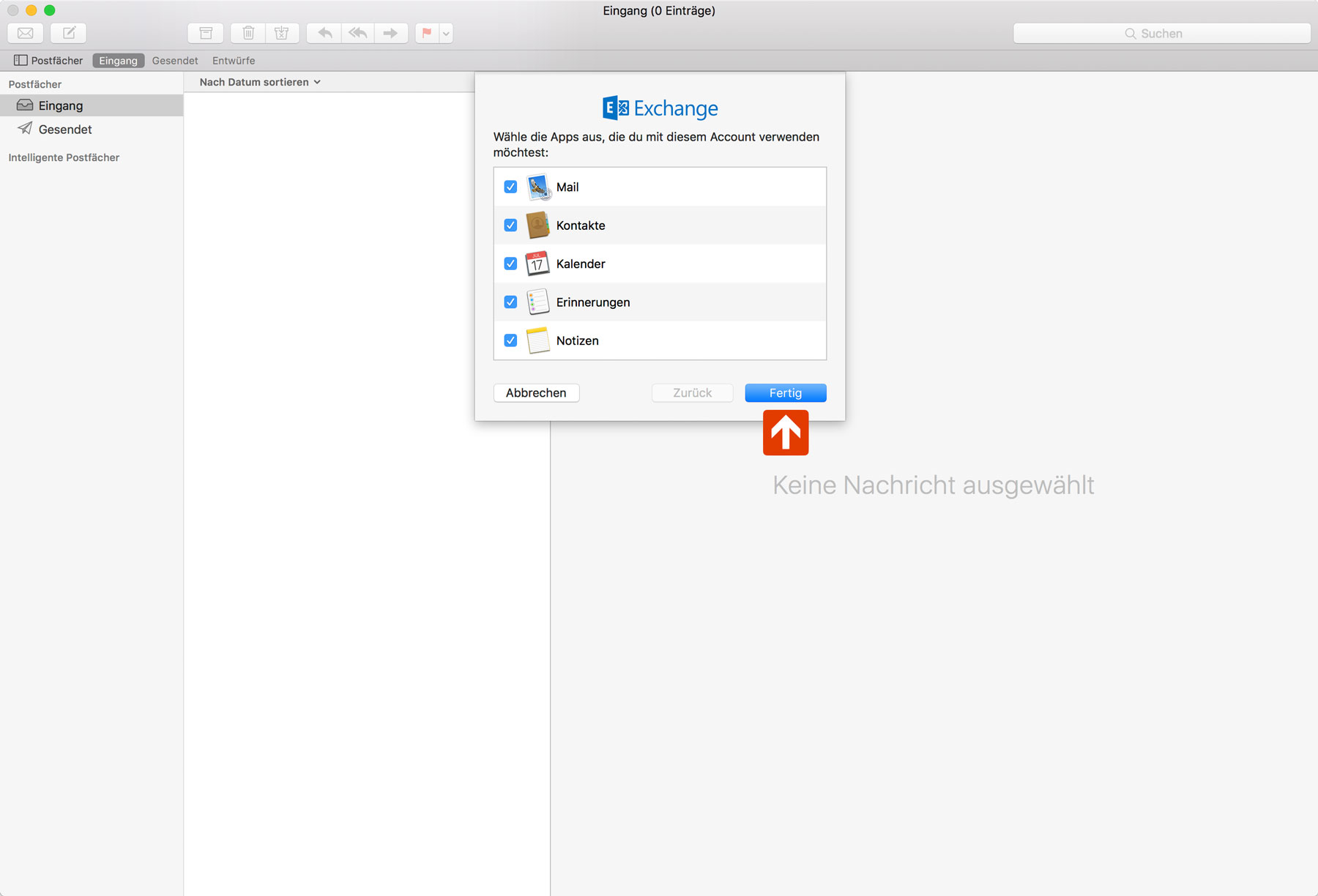Exchange Apple Mail Setup Step 3