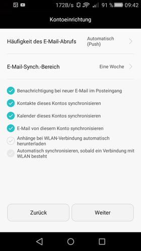 Now you can make sync settings on your Android device.